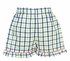 Anavini Girls Green / Blue Plaid Ruffle Shorts with Smocked Golf Cart Top