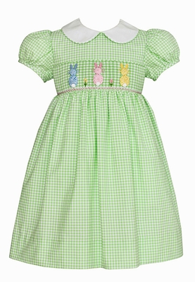 Anavini Girls Green Check Smocked Cottontail Bunnies Dress - Collar