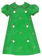 Anavini Girls Green Corduroy Embroidered Santa Faces Float Dress