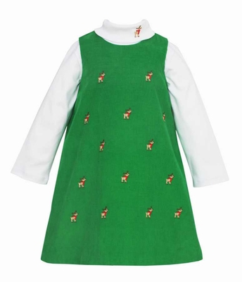 Anavini Girls Green Corduroy Jumper Dress with Turtleneck - Embroidered Reindeer