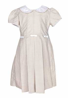Anavini Girls Khaki Tan / White Striped Dress with Collar and Bows
