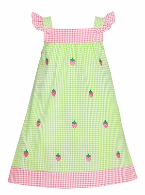 Anavini Girls Lime Green Seersucker Gingham / Embroidered Pink Strawberries Dress