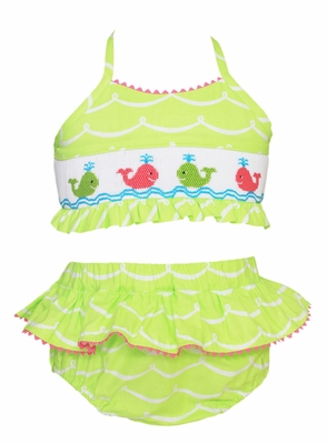 Anavini Girls Lime Green Waves Smocked Preppy Whales Bathing Suit - Two Piece