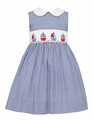 Anavini Girls Navy Blue Check Smocked Sailboats Sleeveless Dress with Collar