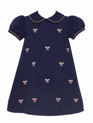 Anavini Girls Navy Blue Corduroy Embroidered Candy Canes Float Dress