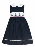 Anavini Girls Navy Blue Pique Smocked Sailboats Sleeveless Sun Dress with Collar