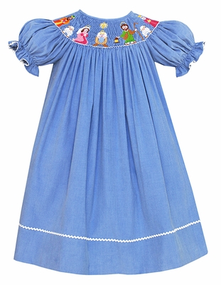 Anavini Girls Periwinkle Blue Corduroy Smocked Nativity Dress