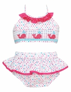 Anavini Girls Pink / Blue Dots Smocked Pink Whales Swimsuit - Two Piece