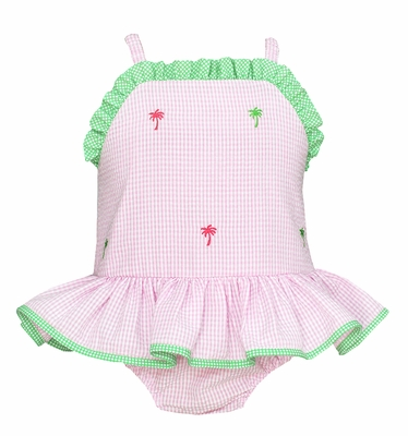 Anavini Girls Pink Check Seersucker Ruffle Swimsuit - Embroidered Palm Trees