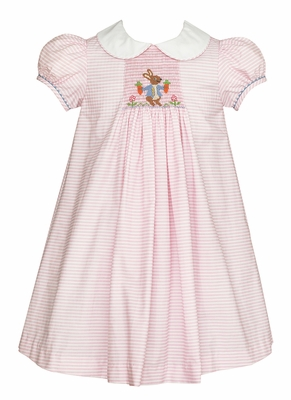Anavini Girls Pink Striped Smocked Peter Rabbit Easter