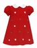 Anavini Girls Red Corduroy Embroidered Santa Faces Float Dress with Collar