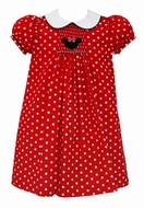 Anavini Girls Red / White Dots Smocked Mouse Ears - Float Dress with Collar