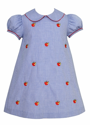 Anavini Girls Royal Blue Check Back to School Dress - Embroidered Apples
