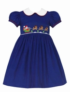 Anavini Girls Royal Blue Corduroy Smocked Santa Sleigh Dress - Collar