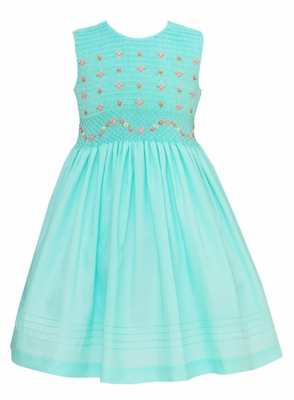 Anavini Girls Sleeveless Aqua Batiste Smocked Bodice Dress
