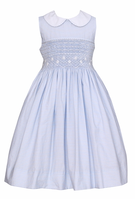 Anavini Girls Sleeveless Blue Striped Dress with Collar - Fully Smocked Bodice