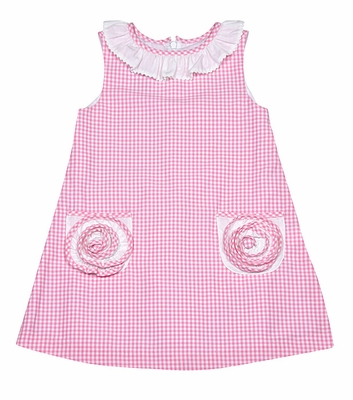 Anavini Girls Sleeveless Pink Gingham A-Line Dress with 3D Circle Pockets