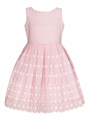 Anavini Girls Sleeveless Pink Striped Embroidered Eyelet Dress