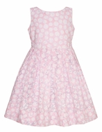 Anavini Girls Sleeveless Pink / White Polka Dots Sheer Voile Dress with Sash
