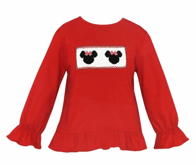 Anavini Girls Smocked Mouse Ears on Red Top - Ruffle Sleeves