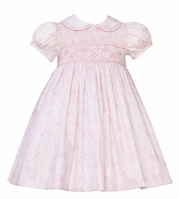 Anavini Girls Sweet Pink Easter Bunnies Print Smocked Dress - Collar