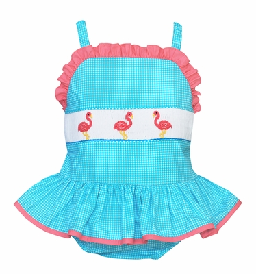 Anavini Velani Girls Turquoise Check Smocked Pink Flamingos Ruffle Swimsuit - One Piece