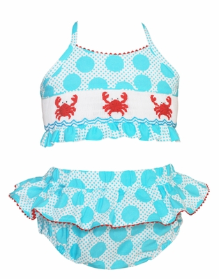 Anavini Girls Turquoise Dots Smocked Crabs Bathing Suit - Two Piece