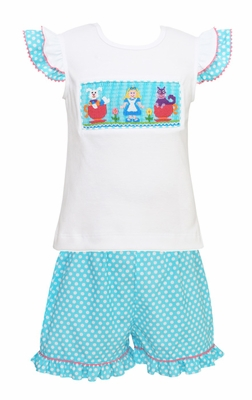 Anavini Girls Turquoise / White Dot Ruffle Shorts with Smocked Alice in Wonderland Top