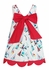 Anavini Girls White / Blue / Red Regatta Sailboat Print Dress - Beautiful Red Bow on Back!