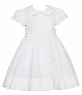 Anavini Girls White Organdy Smocked Bodice Dress with Collar