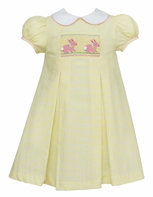 Anavini Girls Yellow Seersucker Dress - Smocked Pink Easter Bunnies - Collar