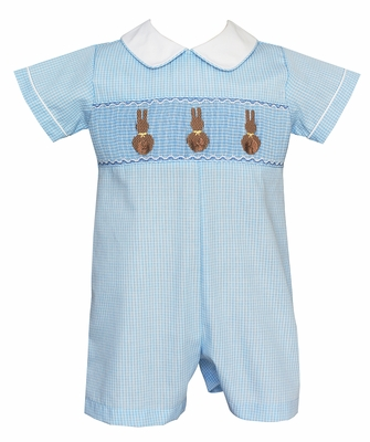 Anavini Velani Infant Boys Blue Check Smocked Chocolate Easter Bunnies Romper