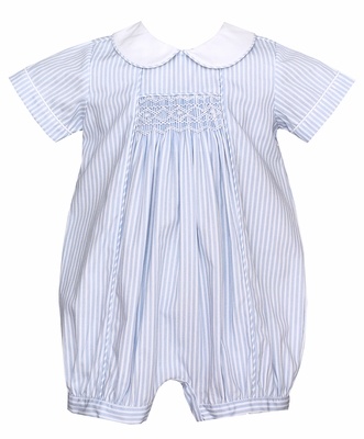 Anavini Infant Boys Blue Striped Smocked Bubble with Collar