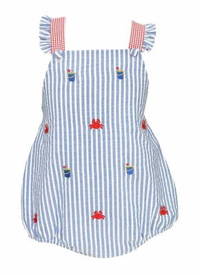 Anavini Infant Girls Blue Striped / Red Embroidery Crabs Cross Back Bubble