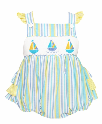 Anavini Infant Girls Blue / Yellow Striped Smocked Sailboats Cross Back Ruffle Bubble