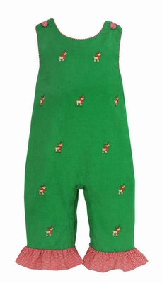 cc44ea247 Anavini Infant Girls Green Corduroy Embroidered Reindeer Ruffle Romper