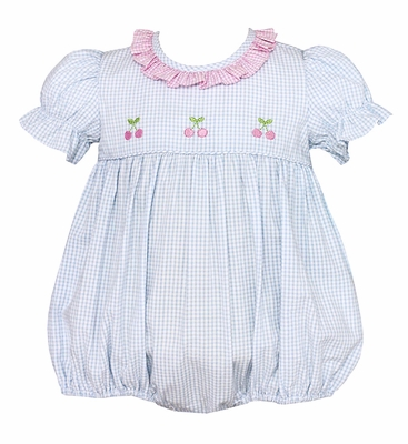 Anavini Infant Girls Light Blue Check Bubble with Ruffle Collar and Pink Cherries