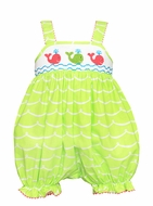 Anavini Infant Girls Lime Green Waves Smocked Preppy Whales Bubble