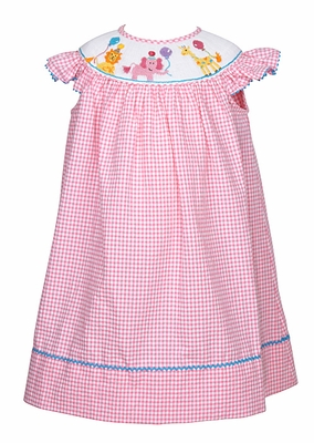 Anavini Infant Girls Pink Check Smocked Birthday Party Animals - Bishop Dress