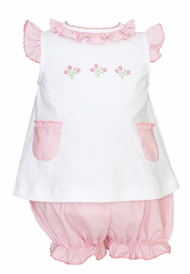 Anavini Infant Girls Pink / White Dots Bloomers Set - White Knit Top with Pink Bouquets