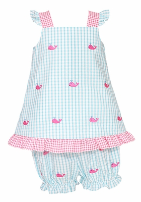 Anavini Infant Girls Turquoise Gingham / Pink Embroidered Whales Bloomers Set