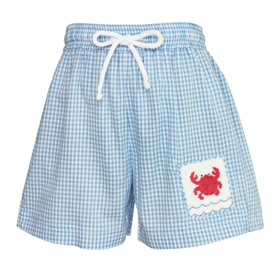 Anavini Infant / Toddler Boys Blue Gingham Smocked Crab Swim Trunks