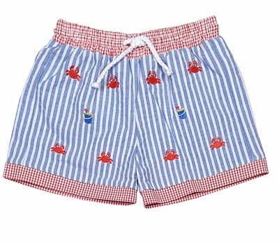Anavini Infant / Toddler Boys Blue Stripe Embroidery Crabs Swim Trunks