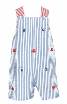 Anavini Infant / Toddler Boys Blue Striped Embroidered Crabs / Sand Pails Shortall