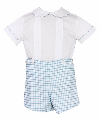 Anavini Infant / Toddler Boys Blue Windowpane Check Dressy Shorts Set