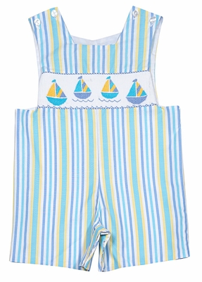 Anavini Infant / Toddler Boys Blue / Yellow Stripes Smocked Sailboats Shortall