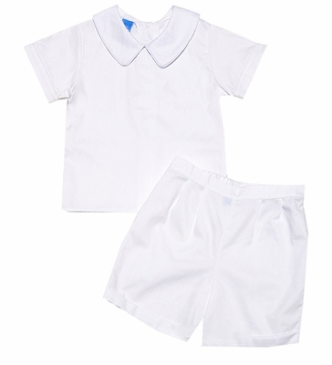 Anavini Infant / Toddler Boys Dressy Shorts Set - White Pique