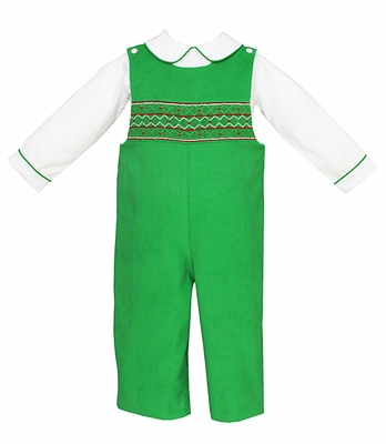 Anavini Infant / Toddler Boys Green Corduroy Smocked Christmas Longall with Piped Shirt