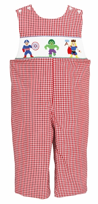 Anavini Infant / Toddler Boys Red Check Smocked Super Heroes Longall