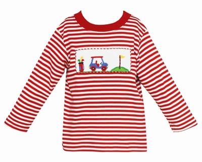 Anavini Infant / Toddler Boys Smocked Golf Cart on Red Striped Shirt
